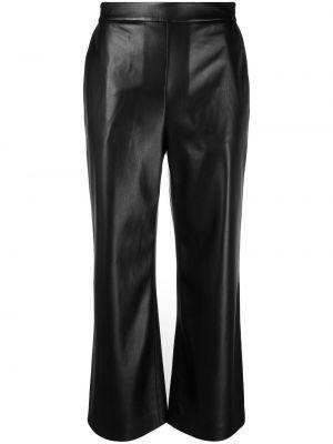 Czarne spodnie z wysokim stanem skorzane Boss Hugo Boss