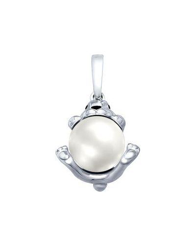 Серебряная подвеска с камнями с жемчугом Sokolov
