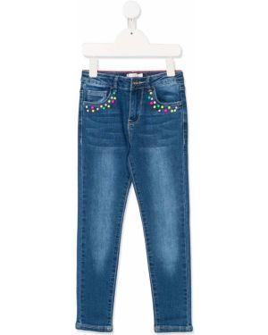 Niebieskie jeansy z haftem bawełniane Billieblush