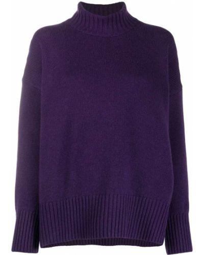 С рукавами кашемировый фиолетовый джемпер в рубчик Massimo Alba