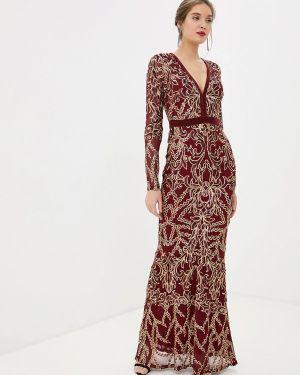 Вечернее платье бордовый красный Goddiva