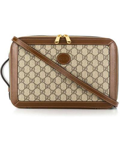 С ремешком коричневая сумка на плечо из натуральной кожи Gucci