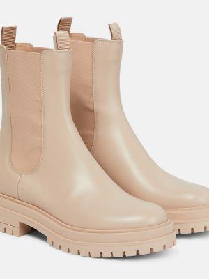 Бежевые ботинки челси из натуральной кожи Gianvito Rossi
