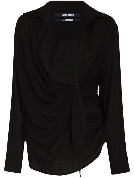 Czarna koszula nocna z wiskozy Jacquemus