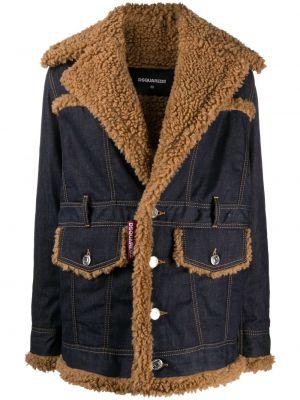 Джинсовая куртка с мехом - синяя Dsquared2