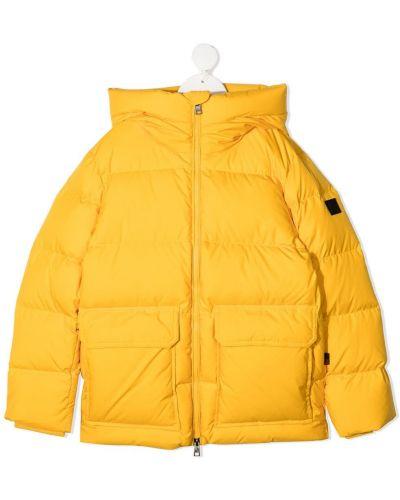 Пуховая классическая желтая стеганая куртка с подкладкой Woolrich Kids