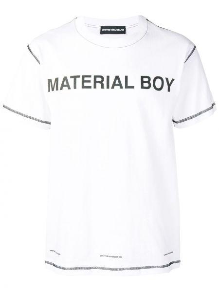 Прямая белая футболка с надписью из органзы с круглым вырезом United Standard