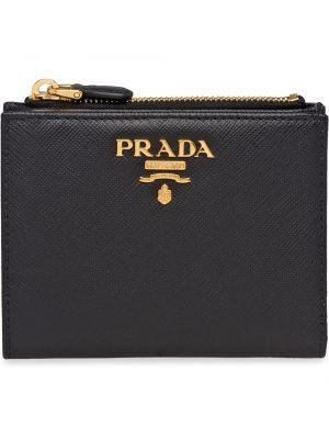 Czarny portfel skórzany Prada