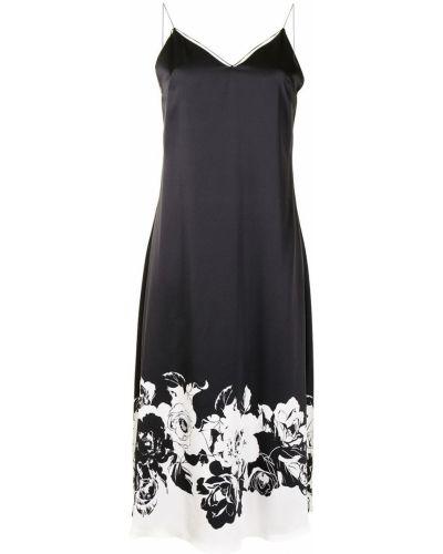 Открытое шелковое черное платье миди Adam Lippes