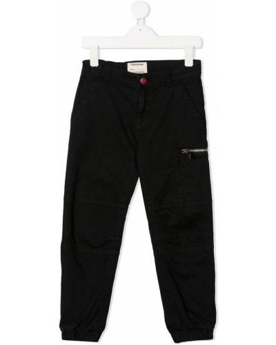 Хлопковые черные брюки на пуговицах с карманами Zadig & Voltaire Kids