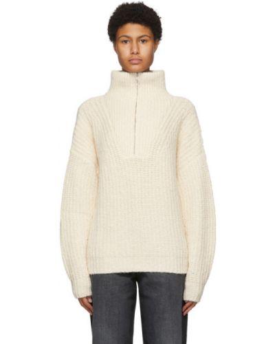 Белый длинный свитер с воротником из альпаки Isabel Marant étoile