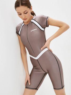 Бежевый комбинезон с шортами для фитнеса Go Fitness