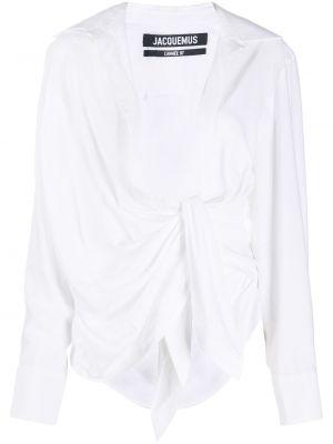 Классическая блузка с длинным рукавом с V-образным вырезом с воротником с драпировкой Jacquemus