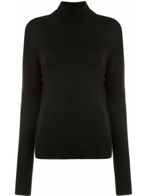 Прямой шерстяной черный джемпер с длинными рукавами Monse