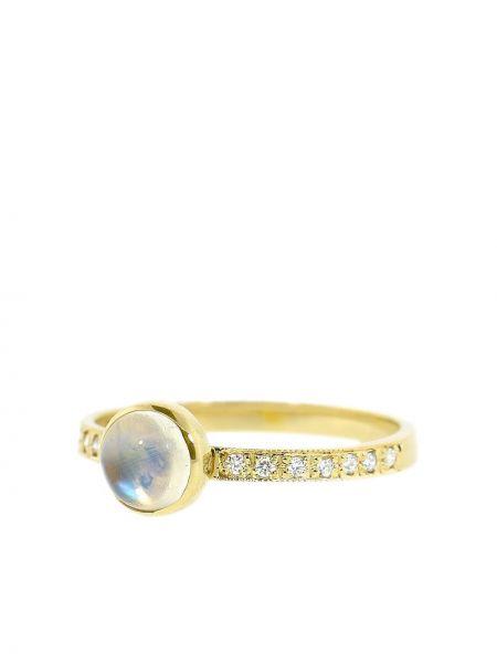 Золотистое кольцо с бриллиантом золотое Jacquie Aiche