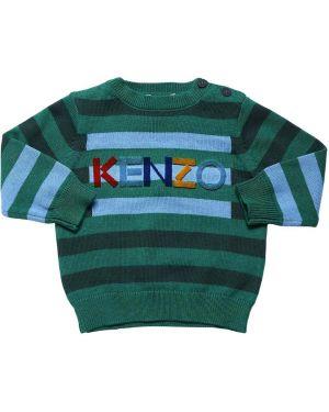 Zielony sweter wełniany w paski Kenzo Kids