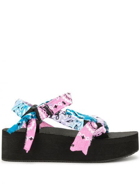 Czarne sandały na platformie bawełniane Arizona Love