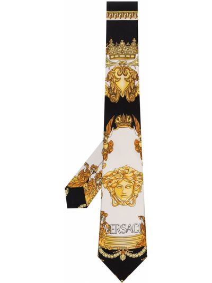 Krawat z printem - biały Versace