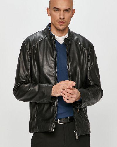 Czarna kurtka jeansowa z kapturem Trussardi Jeans