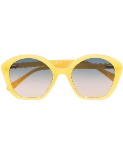 Żółte okulary oversize Chloé Kids