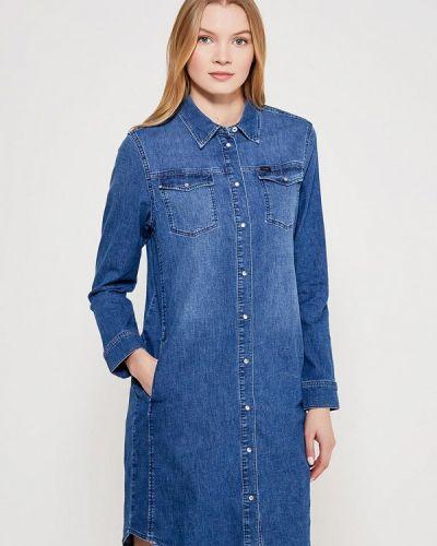 Джинсовое платье платье-рубашка синее Lee