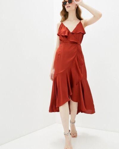 Коричневое платье с запахом Sela