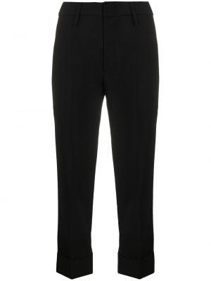 Шерстяные брючные черные укороченные брюки с поясом Tela