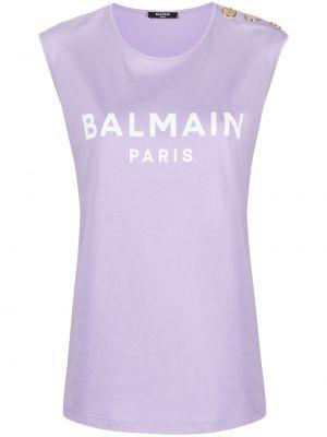 Ватная фиолетовая хлопковая рубашка Balmain