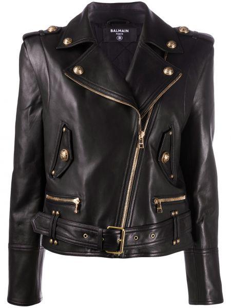 Черная кожаная короткая куртка байкерская Balmain