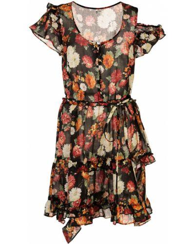 Платье мини с цветочным принтом шерстяное R13