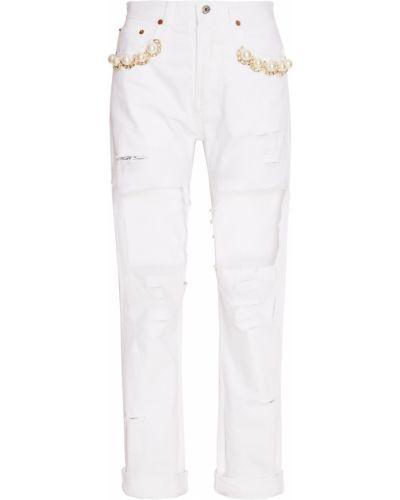 Хлопковые белые джинсы на пуговицах Forte Couture