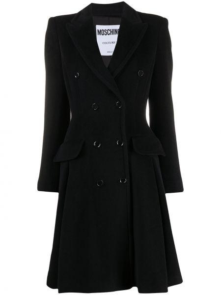 Черное шерстяное расклешенное длинное пальто с карманами Moschino
