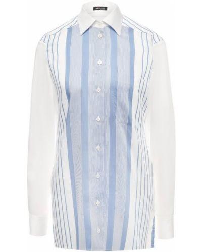 Рубашка с длинным рукавом белая в полоску Kiton