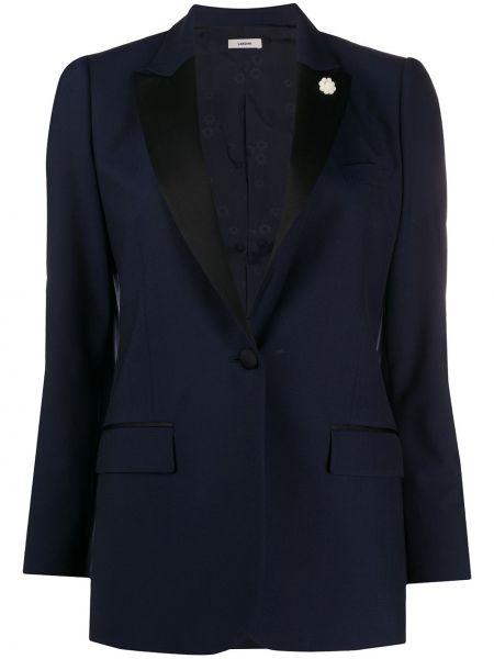 Приталенная прямая синяя куртка на пуговицах Lardini