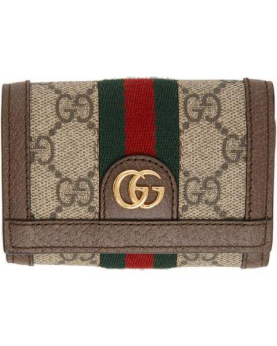 Brązowy skórzany portfel prążkowany z gniazdem Gucci
