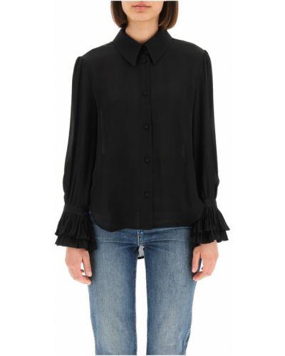 Czarna koszula z jedwabiu Khaite