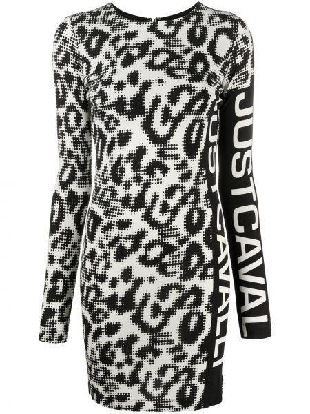 Облегающее черное платье мини с вырезом Just Cavalli