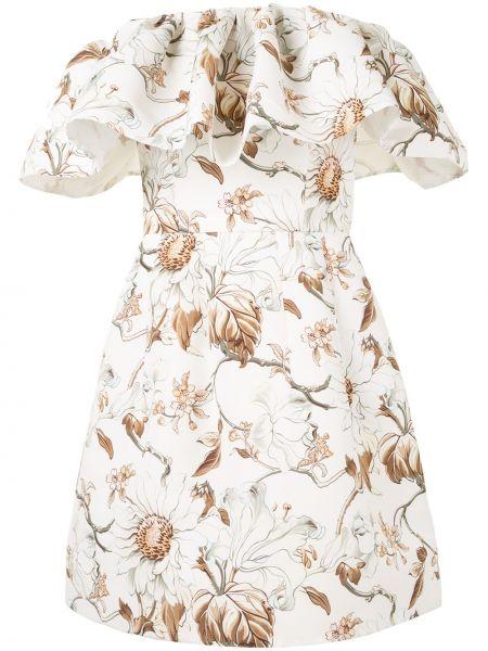 Приталенное белое платье мини в цветочный принт Oscar De La Renta
