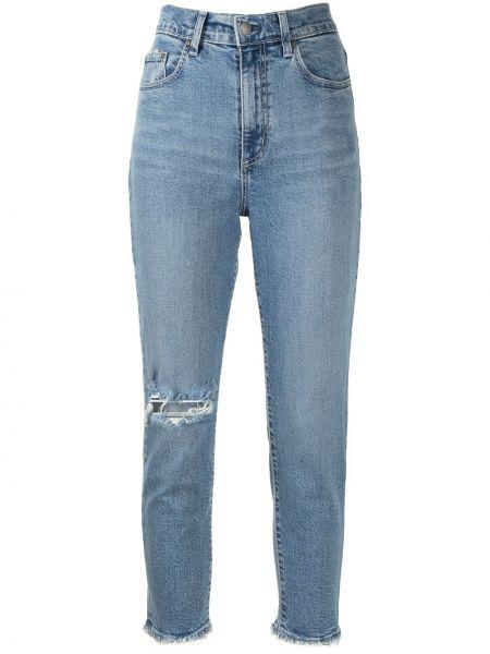 Хлопковые синие укороченные джинсы с заклепками Nobody Denim