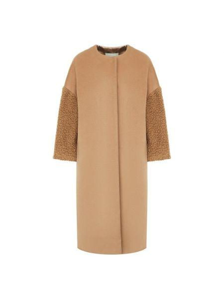 Шерстяное бежевое пальто с воротником на кнопках Ava Adore