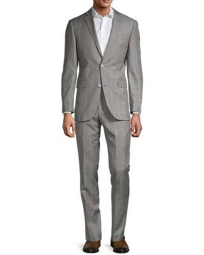 Костюмный серебряный шерстяной костюм классический Saks Fifth Avenue