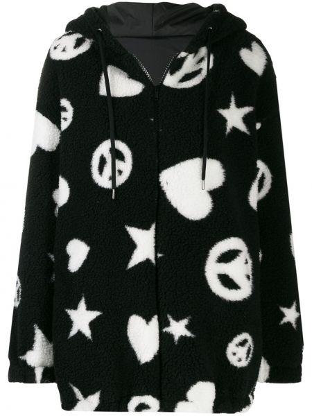 Куртка с капюшоном черная леопардовая Love Moschino