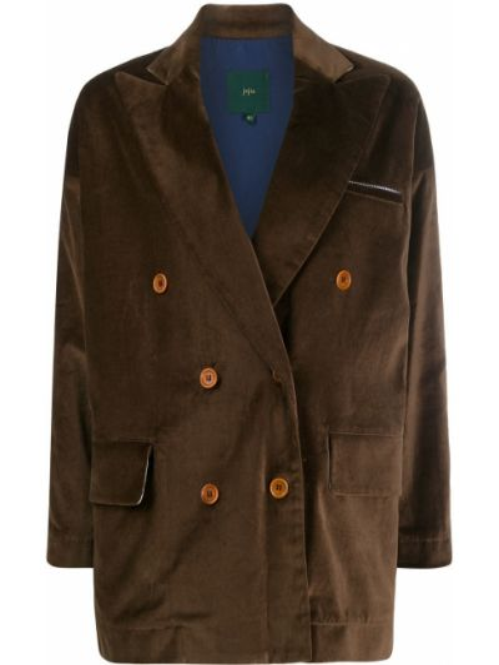 Темно-коричневый удлиненный пиджак с карманами свободного кроя Jejia