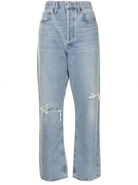 Bawełna niebieski jeansy chłopaki z kieszeniami Agolde