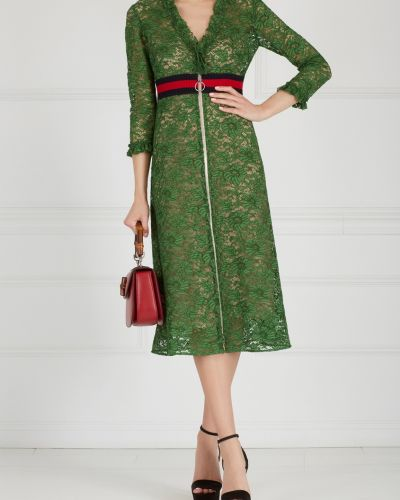 Платье с поясом с V-образным вырезом осеннее Gucci