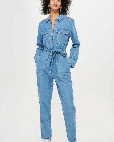 Голубой джинсовый комбинезон Topshop