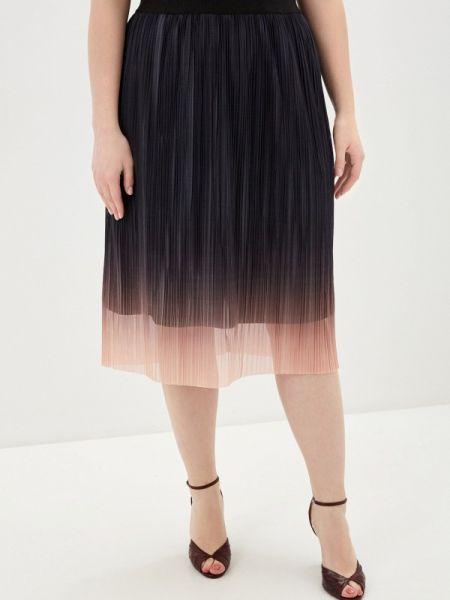 Плиссированная юбка весенняя черная Ulla Popken