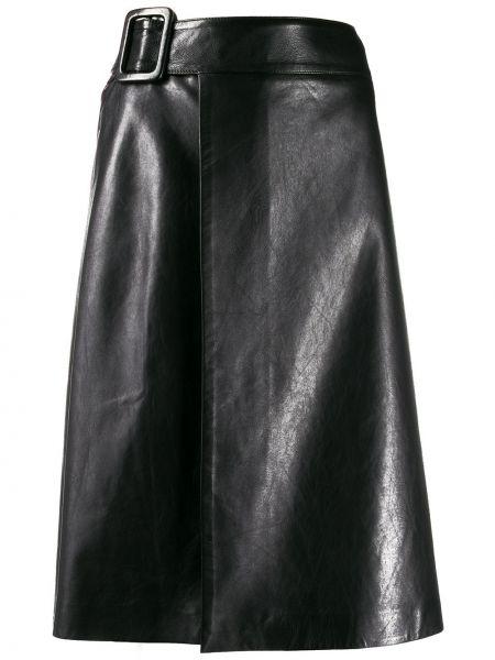 Шелковая черная юбка миди с запахом в рубчик Ermanno Scervino