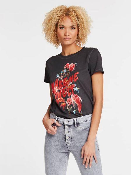 Koszula krótkie rękawy z nadrukiem z dekoltem Guess