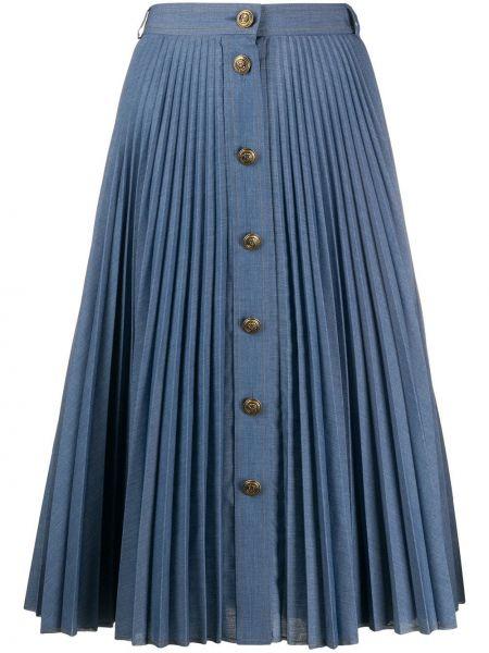 Расклешенная синяя джинсовая юбка на пуговицах Philosophy Di Lorenzo Serafini